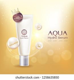 Aqua Hydro Serum Collagen and Vitamin Vector Background Template Concept Skin Care Cosmetic Product