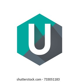 Aqua Initial U Hexagon Shape Logo Vector