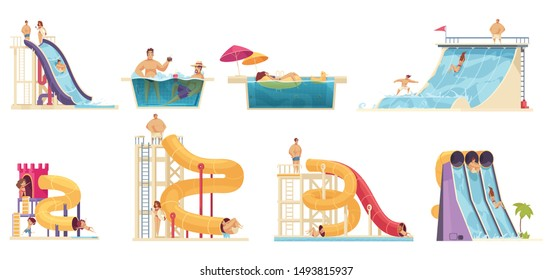 Aqua park visitors enjoying attractions 8 comics cartoon compositions with water  slides family bath vector illustration