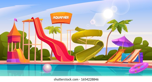 Aqua park with water slides, swimming pool, palms and lounger. Vector cartoon illustration of resort aquapark on sea beach with colorful spiral pipe and small kids waterslides