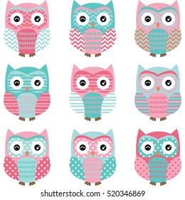 Aqua and Pink Cute Owl Collections.Vector illustration