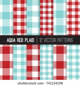 Aqua Red Gingham and Checks Plaid Vector Patterns. Christmas Backgrounds. Red White Blue Checkered Table Cloth. Tile Swatches Included.