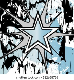 Aquamarine colored rock n roll grunge star vector background