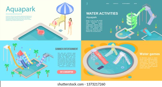 Aquapark banner set. Isometric set of aquapark vector banner for web design