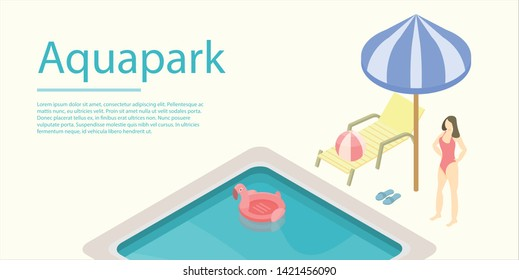 Aquapark concept banner. Isometric illustration of aquapark vector concept banner for web design