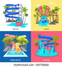 Aquapark design concept with water slides tubes pools for amusement of children and family isolated vector illustration