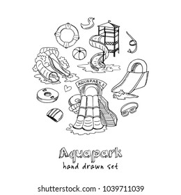 Aquapark hand drawn doodle set. Sketches. Vector illustration for design and packages product. Symbol collection.