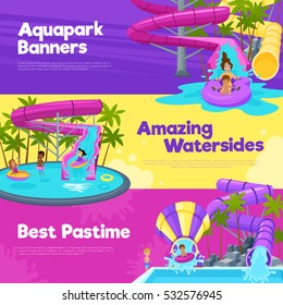 Aquapark horizontal banners with different water slides hills tubes and pools in colorful style vector illustration