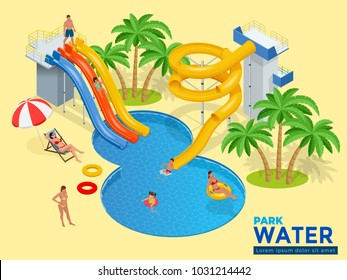 Aquapark horizontal web banner with different water slides, family water park, hills tubes and pools isometric vector illustration. design for web, site, advertising, banner, poster, board and print