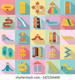 Aquapark icons set. Flat set of aquapark vector icons for web design