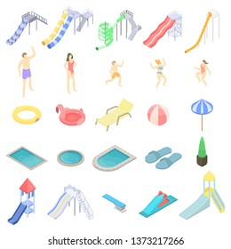 Aquapark icons set. Isometric set of aquapark vector icons for web design isolated on white background