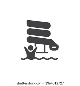 Aquapark slide tube vector icon. filled flat sign for mobile concept and web design. Man in water park slide glyph icon. Symbol, logo illustration. Pixel perfect vector graphics