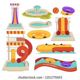 Aquapark swimming pool slides and inflatable ring water attractions vector isolated objects spiral tube and lazy river banana and ball summer entertainment activity and having amusement park pipe