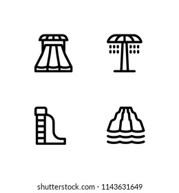 Aquapark, water park, waterpark. EPS 10 vector format. Professional pixel perfect black & white icons optimized for both large and small resolutions. Transparent background.
