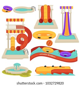 Aquapark water slides and amusement park attractions vector flat cartoon isolated icons