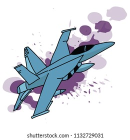 aquarelle blur colored Jet Fighter isolated on white. Cartoon illustration/ Military jet fighter silhouettes. Image of aircraft in contour drawing lines