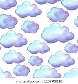 Aquarelle seamless pattern with clouds. Watercolor autumn background.