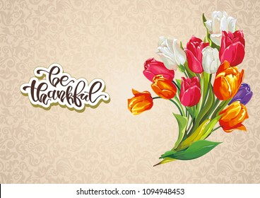 Aquarelle wild flower for background. Greeting card for Happy Mother's Day, design with bouquet of tulips flowers. Beautiful bouquet on vintage backdrop