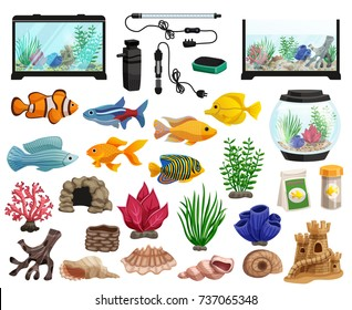 Aquaristics cartoon set with aquarium fishes corals stones seaweeds seashells and aquarium tanks of different shapes vector illustration