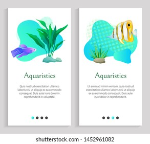 Aquaristics fish swimming in sea water vector, seaweed and plants, flora and fauna of underwater. Marine life, ocean dwellers animals types. Website or slider app, landing page flat style