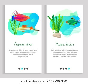 Aquaristics floating fish vector, seaweed oceanic and seawater with flora and foliage, stone and animals marine life, sealife fauna of underwaters. Website or slider app, landing page flat style