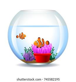 Aquarium with clownfish and corals. Marine aquarium. Vector illustration