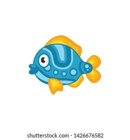 aquarium fish cute cartoon icon vector on a white background