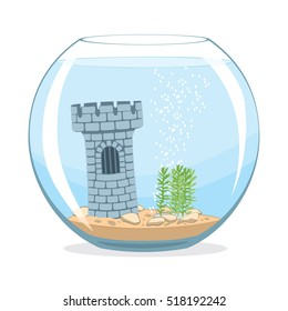 Aquarium. Fishbowl aquarium with castle. Vector illustration
