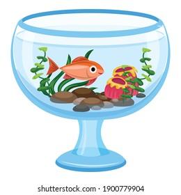 Aquarium glass transparent icon. Cartoon of aquarium glass transparent vector icon for web design isolated on white background