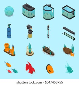 Aquarium icons set on blue background isometric isolated vector illustration