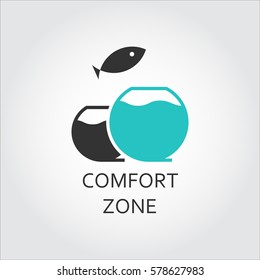 Aquarium and jumping fish, comfort zone concept. Simple black icon. Logo drawn in flat style. Black and green shape pictograph for your design needs. Vector contour graphics