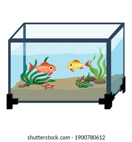 Aquarium in room icon. Cartoon of aquarium in room vector icon for web design isolated on white background
