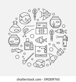 Aquarium round illustration - vector symbol made with icons of fish and accessories in thin line style. Aquariumistics concept sign