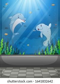 Aquarium scene with sea animals swimming