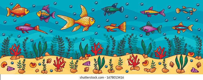Aquarium sea buttom underwater fish marine ocean colorful vector illustration