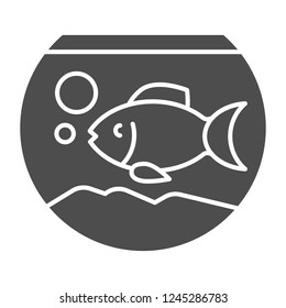 Aquarium solid icon. Fish in aquarium vector illustration isolated on white. Fishbowl glyph style design, designed for web and app. Eps 10