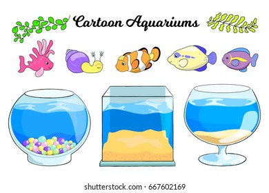Aquarium and tropical fish vector illustration on white background. Empty aquarium. Clownfish character. Sea fish. Coral fish and plant for aquarium decor. Cartoon fish tank. Pet shop banner template