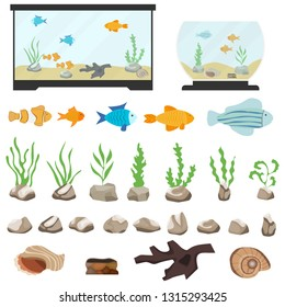 Aquarium underwater vector elements isolated on white background. Aquaristics cartoon set with aquarium fishes stones seaweeds seashells and aquarium tanks of different shapes.