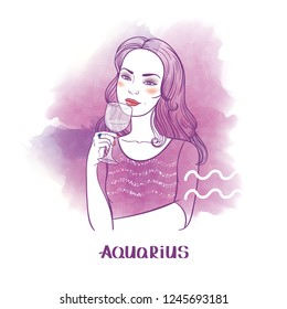 Aquarius astrological sign. Beautiful girl with glass of water. Watercolor background