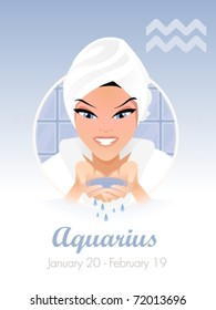 Aquarius  astrological sign. Vector illustration
