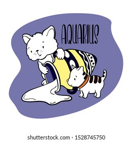 Aquarius Astrological Zodiac sign with cute cat character. Cat zodiac icon. Kitten Aquarius sticker. Baby shower or birthday greeting card. Astrological horoscope element. Aquarius icon isolated
