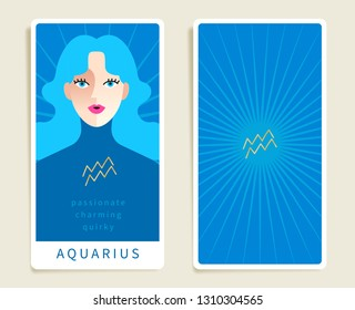 Aquarius : Beautiful woman with horoscope sign : Template for tarot cards :Vector Illustration
