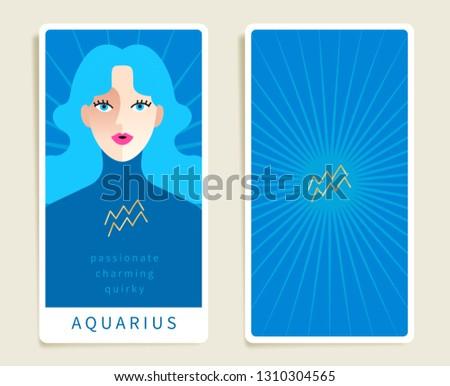 Aquarius Beautiful Woman Horoscope Sign Template Stock Vector
