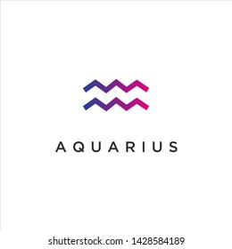 Aquarius, Collection of zodiac signs, line concept vector