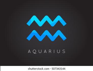 Aquarius Constellation. Detailed Stylish Zodiac Icon. Modern Style Drawing. Vector Illustration.