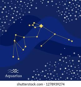 Aquarius constellation vector. Stars on deep blue sky with aquarius zodiac sign