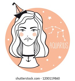 Aquarius girl. Sketch style woman with zodiac sign. Stars, astrological, constellation, beauty, female. Hand drawn vector illustration for prints, stickers, cards