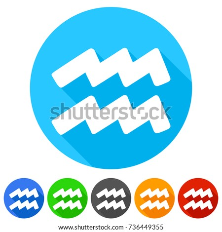 Aquarius Horoscope Astrology Icon Round Button Stock Vector Royalty