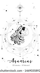 Aquarius horoscope sign with white background