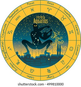aquarius on the background urban night landscape and the starry sky in circle with the signs of the zodiac
